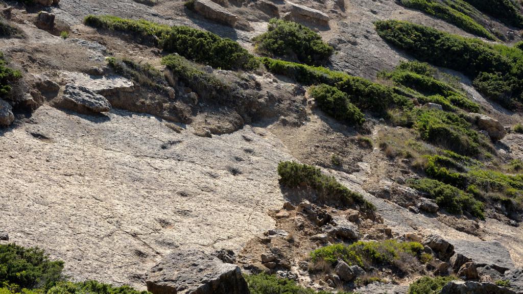 следы на скале на мысе Эшпичел