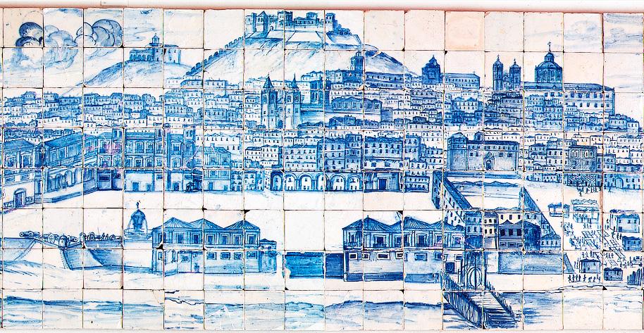 фрагмент панорамы Лиссабона в музее Азулежу
