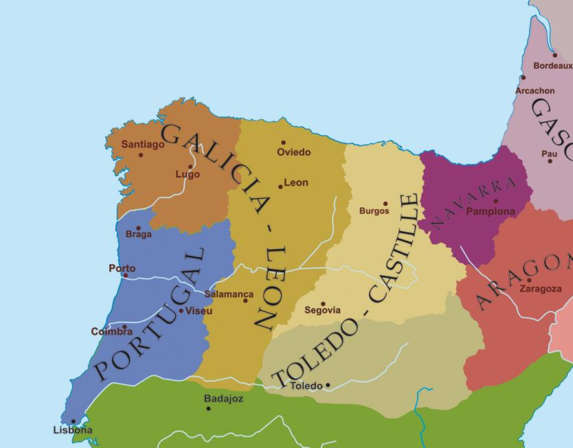 Карта иберийских королевств к моменту смерти Афонсу Энрикеша